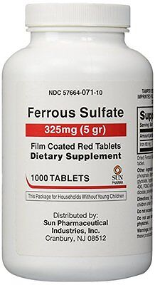 Ferrous Sulfate 325 mg Iron Generic for Feosol 1000 Red Tablets