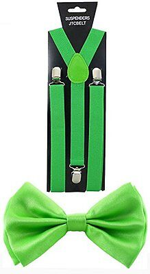 Adult Lime Green Suspenders and Bow Tie Set Adjustable Wedding Prom
