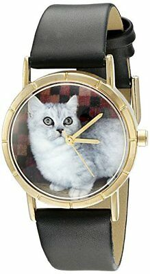 - NWOT Whimsical Watches P0120047 Classic Munchkin Cat Black Leather Photo Watch