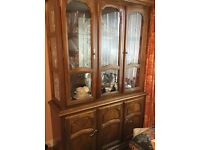 Walnut Dining Table and 6 chairs with matching China cabinet excellent condition for sale