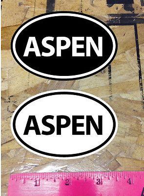 ASPEN CO Colorado Bike Ski Snowboard sticker decals Black and White - 2 for 1