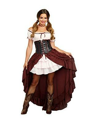 Western Saloon Halloween Costumes (Dreamgirl Saloon Gal Western Corset Dress Adult Womens Halloween Costume)