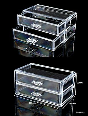 Berucci Two Drawers Acrylic Jewelry Makeup Cosmetic Organizer Holder Storage