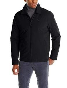 New  Tommy Hilfiger Men's Micro-Twill Open-Bottom Zip-Front Jacket Condition: New, Black, Extra large