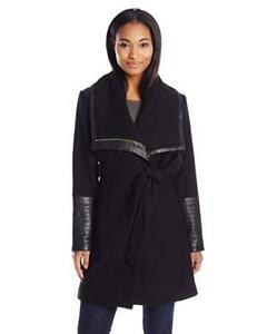 New  Belle Badgley Mischka Women's Lorian Wool Coat with Faux Leather Trim Condition: New, Size: Large