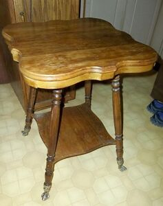 Antique Parlor Lamp Table w/ Brass & Glass Claw Feet