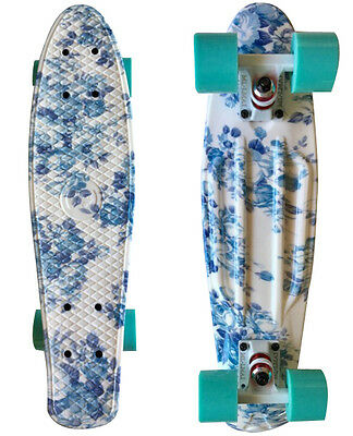 LMAI 22'' Cruiser Skateboard Graphic Blue Flower Board Penny Style Skateboard