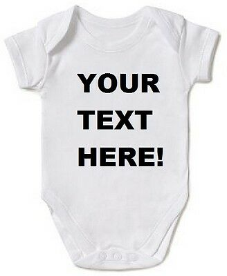 Personalised Baby vest Grow Any Message Christening romper bodysuit Funny New