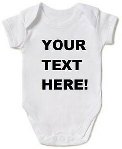 Personalised-Baby-vest-Grow-Any-Message-Christening-romper-bodysuit-Funny-New