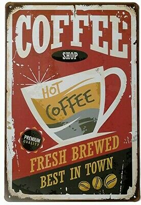 Hot Coffee Fresh Brewed Best In Town Metal Sign Vintage Retro Home Decoration. (Best Laundry Room Decor)