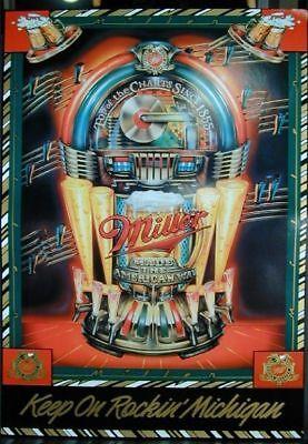 Miller Beer Ad Keep on Rockin Michigan Juke Box  Poster