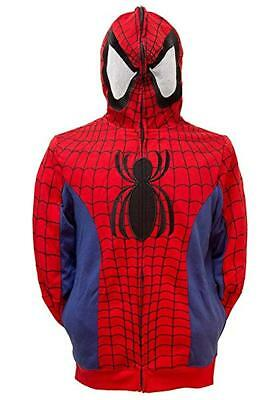 Spiderman Hoodie Mens (Mens Marvel Spiderman Costume Cosplay Hoodie See Thru Mask NWT)