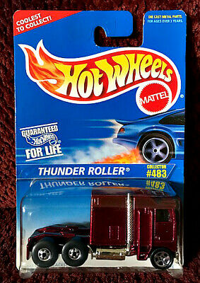 1996 HOT WHEELS #483 THUNDER ROLLER Kenworth Burgandy Rig Hauler Semi Truck RARE