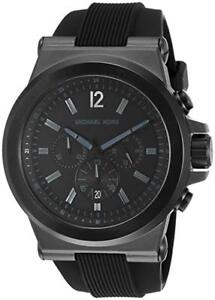 NEW! Michael Kors Black Stainless Steel & Silicone Watch MK8152