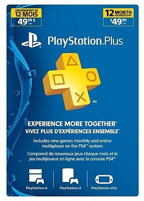 Playstation Plus 1 Year 12 Month Membership Canada  Us Or Mexico Ps4 Ps3 Or Vita