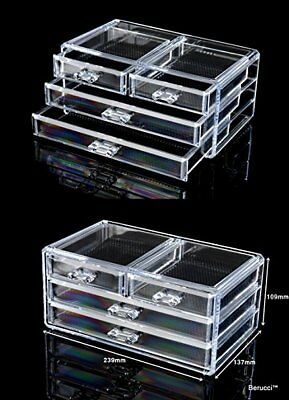 Clear Four Drawers Acrylic Jewelry Makeup Cosmetic Organizer Holder Storage