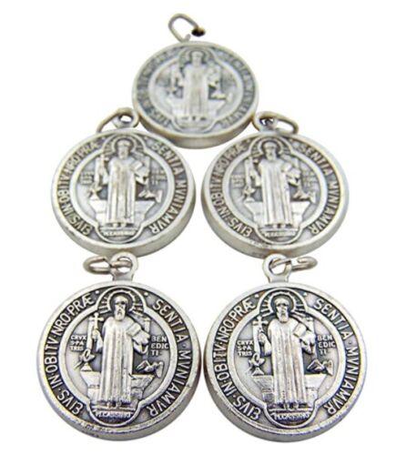 Lot of 5 Silver Saint Benedict Evil Protection Devotion Medal Medalla Benedict