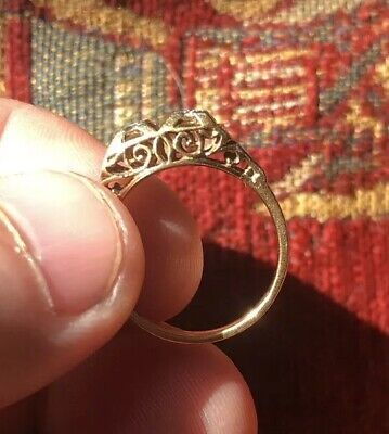 Antique Victorian old diamond double set engagement ring 18ct gold c1875 size:N