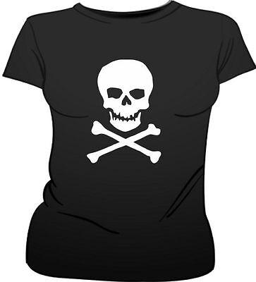 Schädel & Gekreuzte Knochen Piraten Kostüm Weiblich Passform T-Shirt ()