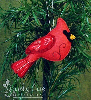 Cardinal Sewing Pattern - Ornament Red Bird Felt Plushie Pattern & Tutorial Felt Ornaments Patterns