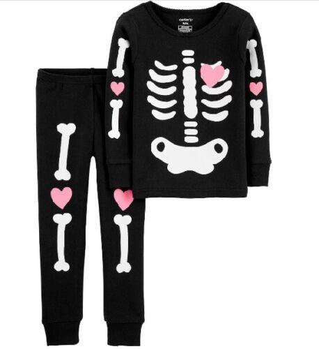 Girls Carters 2 Pc Glow in Dark Skeleton Pajamas Costume Halloween 3T 4T 5T NWT