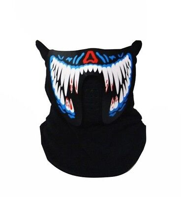 LED Mask Shark Teeth Beat Rave Party Flashing Terror Light Up - Sound Activated (Sound Activated Mask)