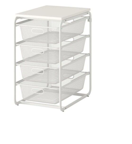 Ikea Algot 4 Drawer White Storage Unit With Wired Baskets In