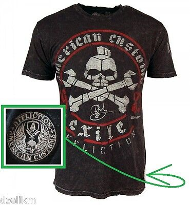 Affliction American Customs Exile Cycles Distressed Tee T-shirt Size S