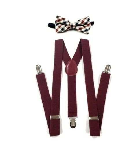 New Burgundy Suspenders Bow Tie Matching Plaid Sets Usa Seller