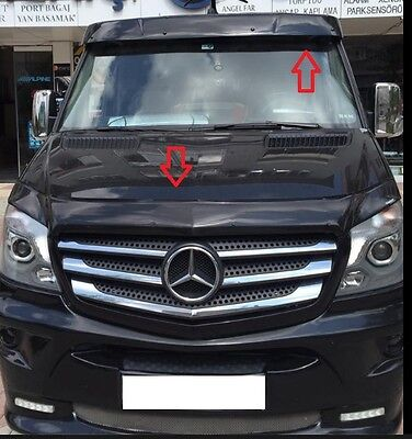 MERCEDES SPRINTER   Sun Visor and Bug Guard Solid Black Acrylic 2014-2017