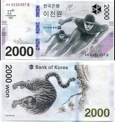 SOUTH KOREA 2,000 2000 WON 2018 2017 WINTER OLYMPIC COMM. UNC NO FOLDER