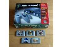 Boxed Nintendo 64 (N64) with 5 games