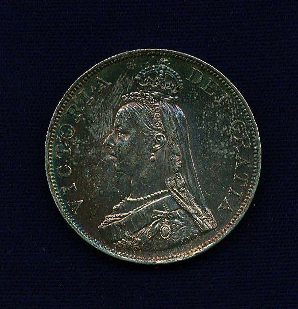 G.B./U.K./ENGLAND VICTORIA  1887  DOUBLE-FLORIN SILVER COIN, UNCIRCULATED