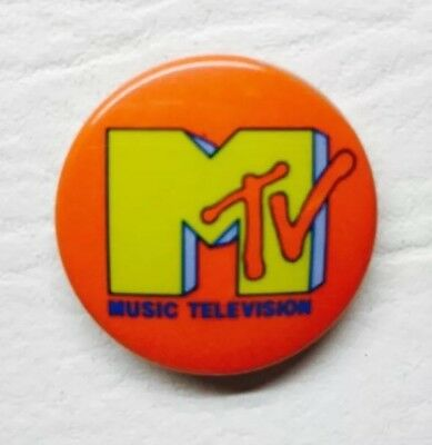 VINTAGE-MTV MUSIC TELEVISION AUTHENTIC 1980s BUTTON / PINBACK PIN