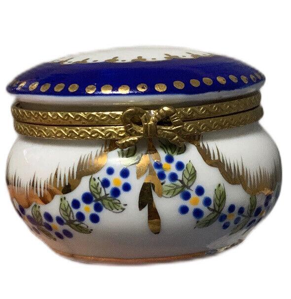 "Vintage Ceramic Trinket Box White Blue Flower Gold Trim Lined 2 1/2"" Wide"
