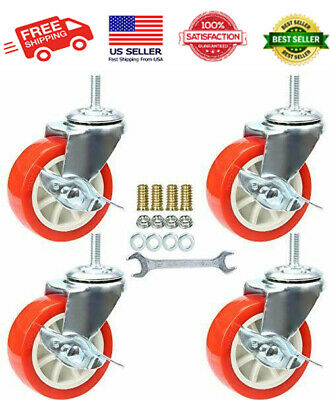 3 Inch Stem Swivel Caster Wheels With Brake Set Of 4 Metric Size M8-1.25 ...new