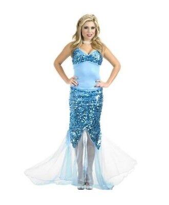 Fish Fancy Dress Costumes (Sexy Blue Lagoon Sequin Mermaid Costume Fancy Dress Fish Adult Women Medium)
