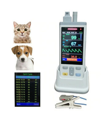 3.5 Lcd Veterinary Handheld Pulse Oximeter With Temp Probe Spo2 Finger Probe