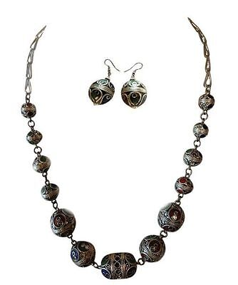 Moroccan Berber Tribal Necklace & Earrings Set Enameled Metal Beads Ethnic Bead