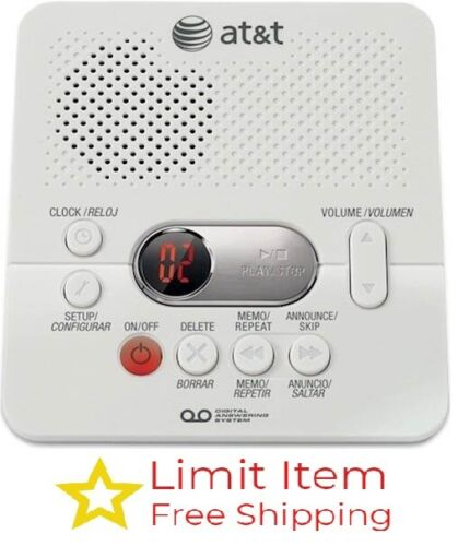 AT&T 1740 Digital Answer System with Time and Day Stamp - White