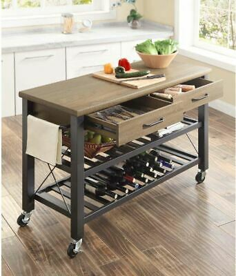 Rolling Rustic Wood Metal Kitchen Cart Trolley with Wine Rack Shelves Drawers