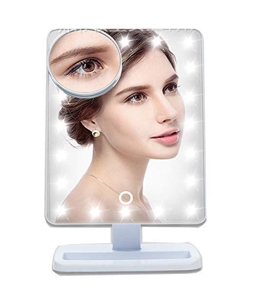 10 X Magnifying Lighted Makeup Mirror Desk Mirror 20 LED Tou
