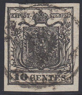 Lombardei Venetien 1850 Nr. 2 X b tiefschwarz BALKEN gestempelt Befund BPP