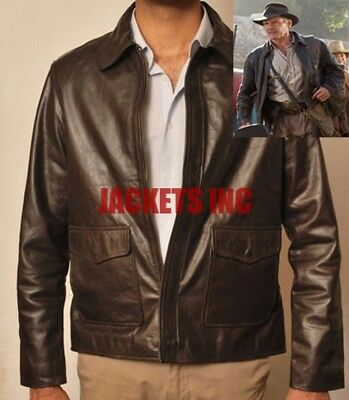 INDIANA JONES HARRISON FORD BROWN BIKER LEATHER JACKET AL SIZE HALLOWEEN COSTUME