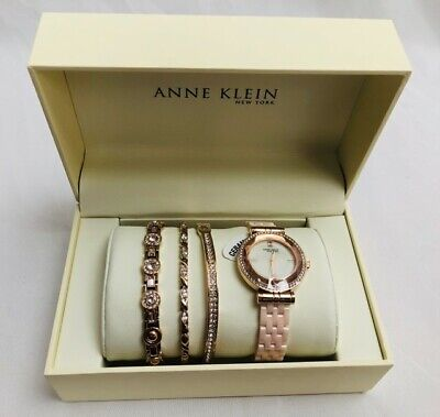 Anne Klein NY 12/2316BHST Rose gold W/Crystals Ceramic Women's Watch Set