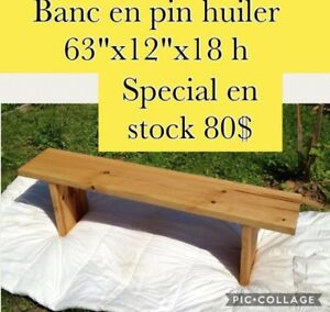 Banc en pin massif 2""