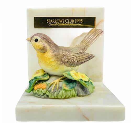 Sparrow bookend figurine sculpture bible verse marble flower bird book end vtg 2