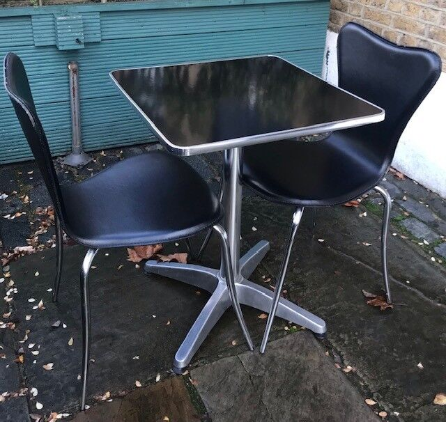 Stylish Black Table And Leather Chair In Holloway London