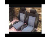 2x black and blue recaro seats