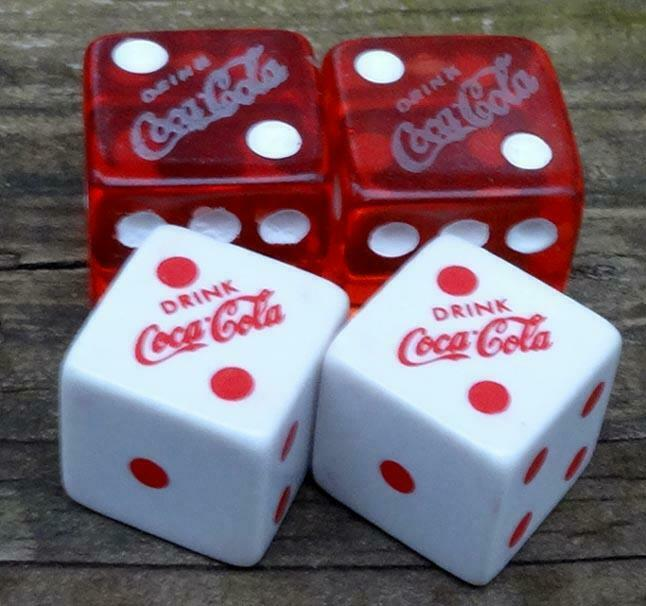Vintage Coca Cola Toy Game Casino Dice Red & White 2 Sets 30 Years Old